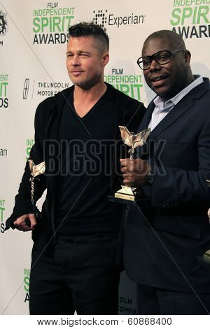 LOS ANGELES - MAR 1:  Brad Pitt, Steve McQueen at the Film Independent Spirit Awards at Tent on the Beach on March 1, 2014 in Santa Monica, CA