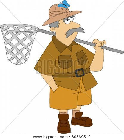 Older man in safari clothing and helmet holding butterfly net