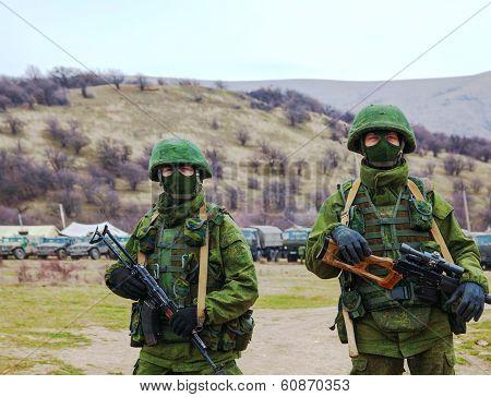 Russian Soldiers In Perevalne, Crimea