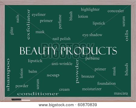 Beauty Products Word Cloud Concept On A Blackboard