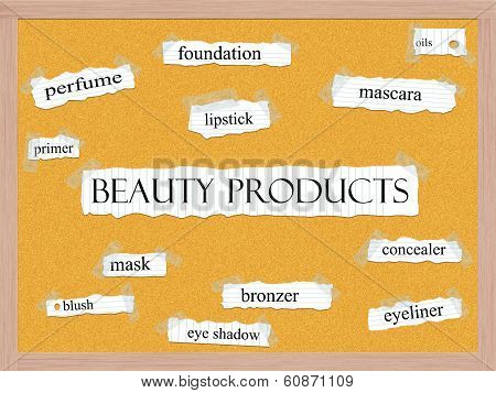 Beauty Products Corkboard Word Concept