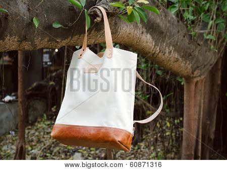 Leather Bags Hang On Banyan Branch
