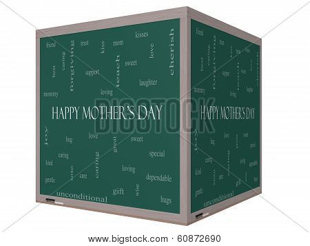 Happy Mother's Day Word Cloud Concept On A 3D Cube Blackboard