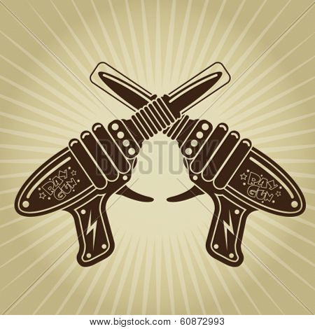 Crossed Retro Space Tin Toy Pistols Illustration