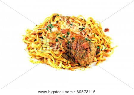 A genuine dish of Linguine and Meat Balls with Tomato Sauce. The perfect Italian dish for all your image needs. Linguini has been said to be the Food of the Gods in some circles is good for you.