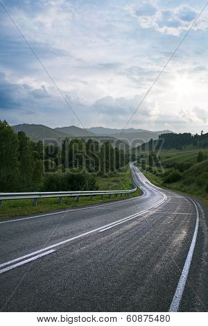 road in mountain at Altay republic in Russia