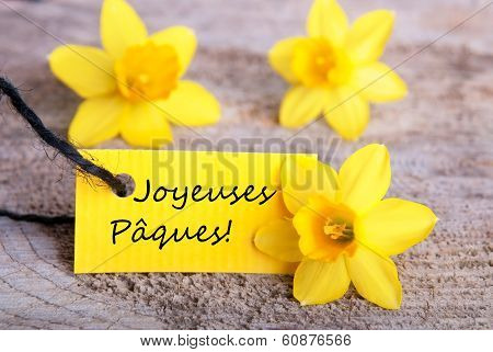 Label With Joyeuses Pâques