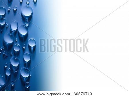 Abstract  Water Drops Background with Beautiful Light and Shadows / copy space  / focus on the center