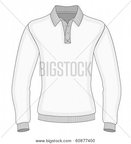 Men's long sleeve polo shirt design templates (front view). Vector illustration. Ribbed collar, cuffs and waistband.