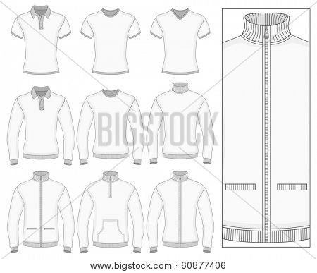 Men's short and long sleeve clothes templates (front view). Vector illustration. No mesh. Redact color very easy. Ribbed collar, cuffs and waistband.