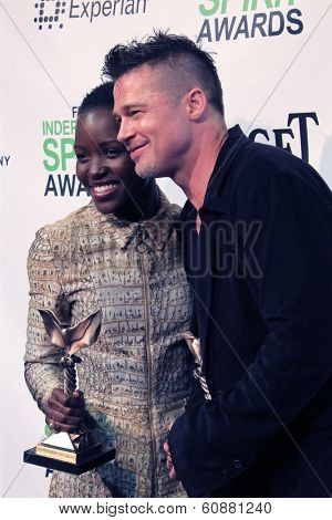 LOS ANGELES - MAR 1:  Lupita Nyong'o, Brad Pitt at the Film Independent Spirit Awards at Tent on the Beach on March 1, 2014 in Santa Monica, CA