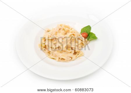 Pasta plate isolated on white