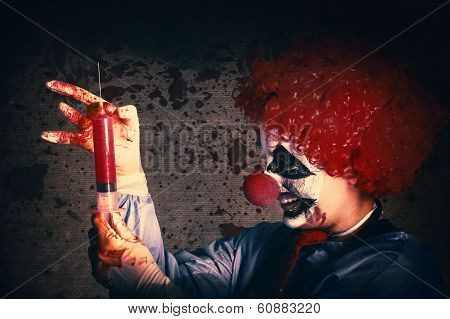 Scary Clown Giving Bad Medicine Vaccination