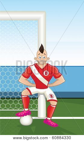 Cartoon soccer player leaning on goalpost