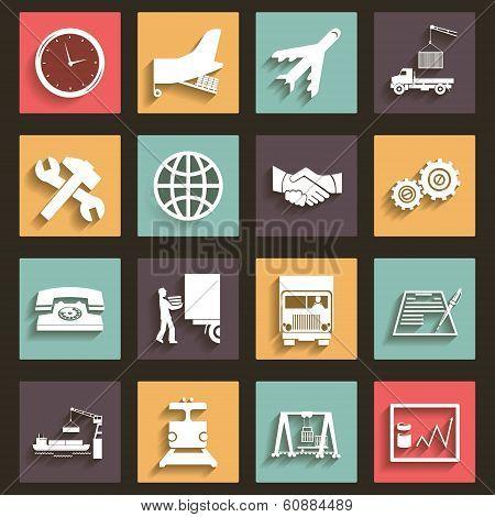Shipment and Transportation Icons Symbols Flat Design Style vector