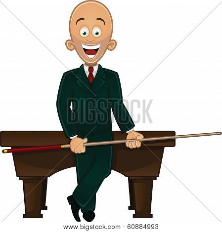 Billiard player holding cue