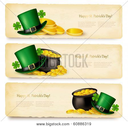 Three Saint Patrick's Day banners with lover leaves, green hat and gold coins in a cauldron. Vector.
