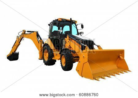 Yellow Construction Machine Isolated on the White Background