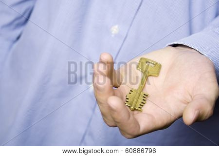 House key in palm