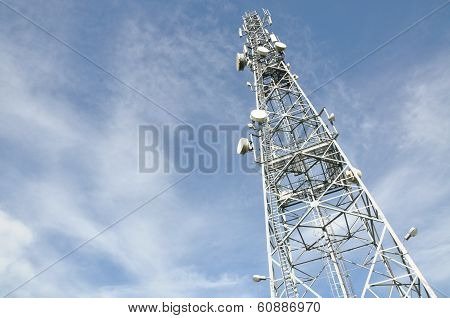 Telecommunication tower with antennas
