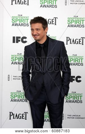 LOS ANGELES - MAR 1:  Jeremy Renner at the Film Independent Spirit Awards at Tent on the Beach on March 1, 2014 in Santa Monica, CA