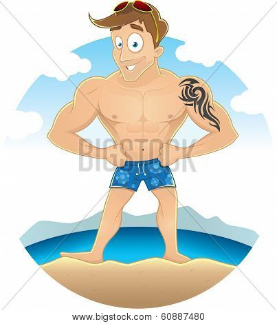 Cartoon sexy beach guy