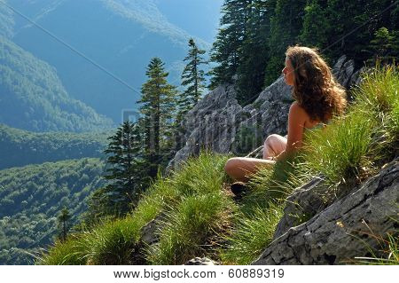 Woman Admiring The Landscape