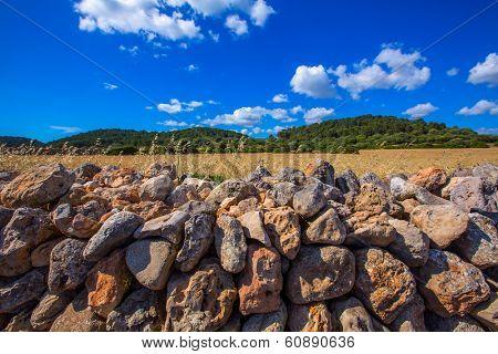menorca Es Mitjorn Mediterranean masonry landscape at Balearic Islands