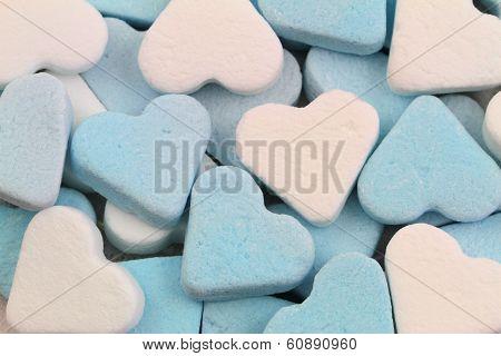 Mint sugar hearts, close up