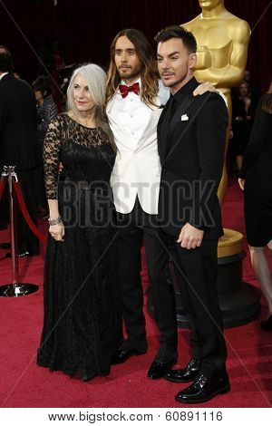 LOS ANGELES - MAR 2:  Constance Leto, Jared Leto, Shannon Leto at the 86th Academy Awards at Dolby Theater, Hollywood & Highland on March 2, 2014 in Los Angeles, CA
