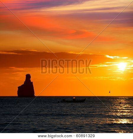 Ibiza Cala Benirras sunset beach in san Juan at Balearic Islands Spain