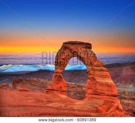 Arches National Park Delicate Arch sea of clouds in Moab Utah USA photo mount