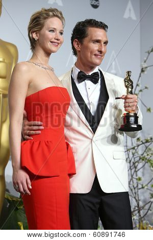 LOS ANGELES - MAR 2:  Jennifer Lawrence, Matthew McConaughey at the 86th Academy Awards at Dolby Theater, Hollywood & Highland on March 2, 2014 in Los Angeles, CA