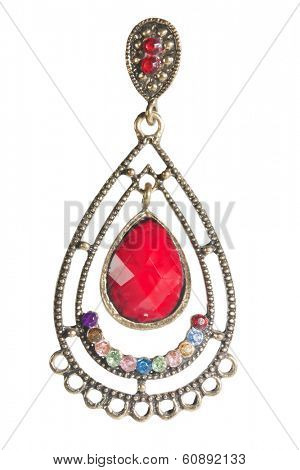 vintage earrings with red stones isolated on white background