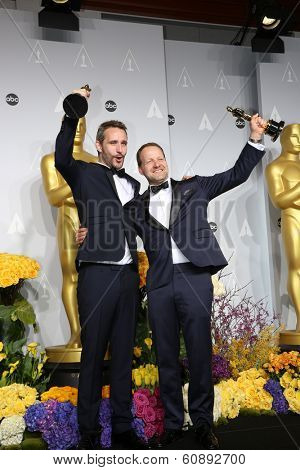 LOS ANGELES - MAR 2: filmakers Anders Walter and Kim Magnusson, winners of Best Short Film, Live Action at the Academy Awards at Dolby Theater, Hollywood & Highland on March 2, 2014 in Los Angeles, CA