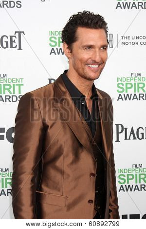 LOS ANGELES - MAR 1:  Matthew McConaughey at the Film Independent Spirit Awards at Tent on the Beach on March 1, 2014 in Santa Monica, CA