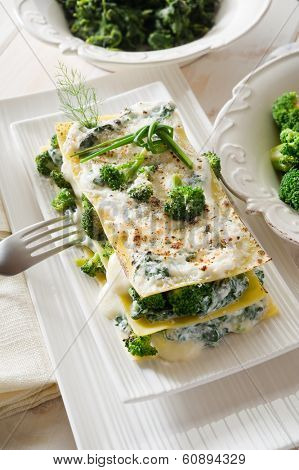 vegetarian lasagne with broccoli and spinach