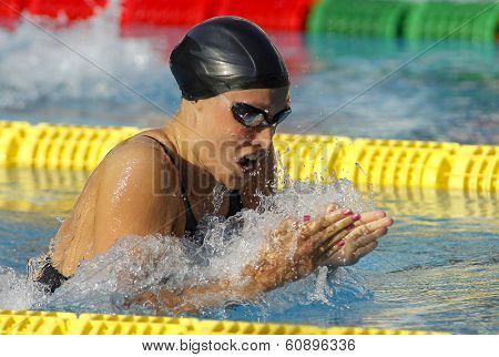 BARCELONA - JUNE, 11: Danish swimmer Rikke Moller Pedersen swimming breakstroke during the Mare Nostrum meeting in Barcelona Sant Andreu club, June 11, 2013 in Barcelona, Spain