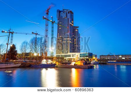 GDYNIA, POLAND - FEB 17: Modern architecture of Sea Towers skyscraper in Gdynia on 17 February 2014. Sea Towers is the 10th tallest building in Poland (143,6 meters) with 38 floors.