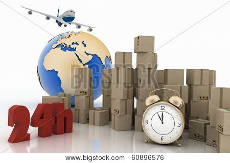Pile of carton boxes  with the words 24 Hrs, airplane and  alarm clock. 3D render illustration.