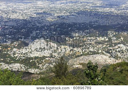 A high view overlooking the city of Port-Au-Prince, Haiti.