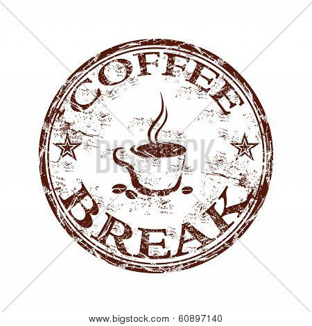 Coffee break grunge rubber stamp