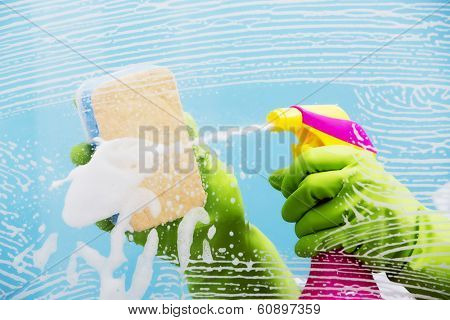 Cleaning - cleaning window pane with spray detergent, spring cleaning concept