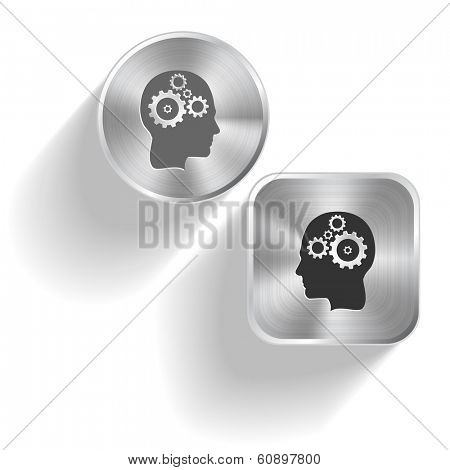 Human brain. Vector set steel buttons
