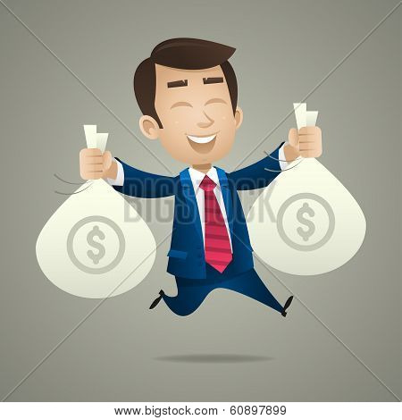 Businessman holds bags with money