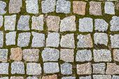 picture of tile cladding  - stone block pavement street texture close up shoot - JPG