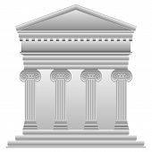 pic of ionic  - Ionic Greek temple on white background - JPG