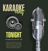 picture of karaoke  - Karaoke vintage retro  party background vector illustration - JPG