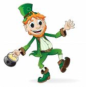 image of pot gold  - Smiling Leprechaun holding a pot of gold - JPG