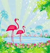 stock photo of flamingo  - illustration with green palms and pink flamingo - JPG